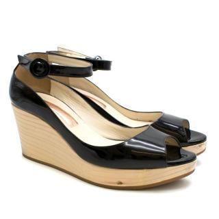 Rupert Sanderson Black Patent Leather Peep-Toe Wooden Wedges