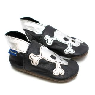 Inch Blue Baby Boy 12M Soft Black Leather Skull Shoes