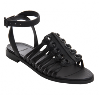 Givenchy Black Embossed Rubber Grommet Sandal