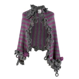 Chanel Grey & Purple Knit Floral Crochet Trim Cashmere Shawl