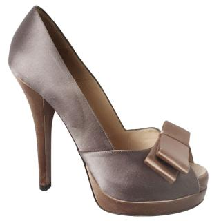 Fendi Satin Peep Toe Pumps