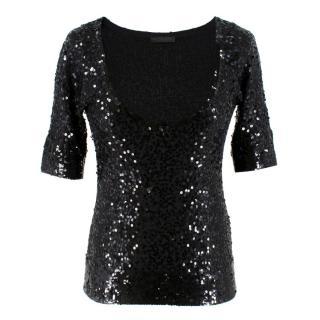 Donna Karan Black Cashmere blend Sequin Top