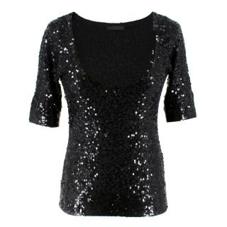 Donna Karan Black Cashmere blend Sequin Top