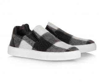 MSGM Checked Brushed-Felt Slip-On Sneakers