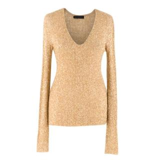 Donna Karan Gold Cashmere Sequin Long Sleeve Knit Top