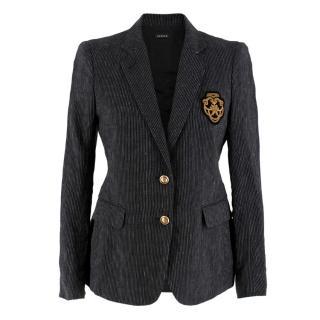Joseph Black and White Striped Embroidered Crest Blazer