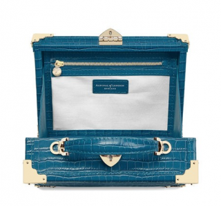 Aspinal of London Blue Crocodile Embossed Mini Trunk Clutch