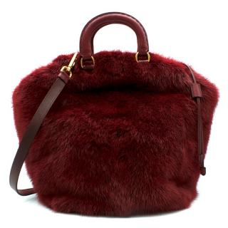 Prada Red Mink Fur Top-handle Tote Bag