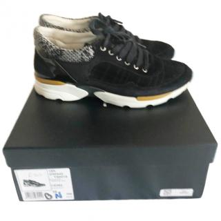 Chanel black suede and tweed trainers