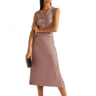 Prada Antique Rose Metallic Knit Vest & Skirt