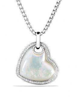 David Yurman Mother of Pearl & Diamond Pendant Necklace