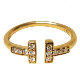 Bespoke 18ct Gold Set Diamond T Ring