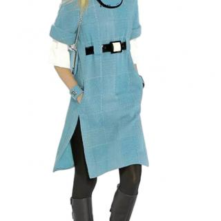 9ac5c5ec645e Chanel tweed blue roll neck belted dress