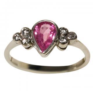 Bespoke 0.50ct Pink Sapphire Diamond Set White Gold Ring