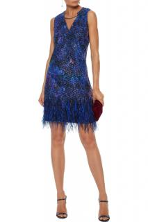 Elie Tahari Blue Feather Trim Mini Dress
