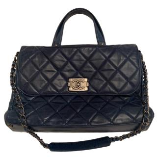 Chanel Navy Leather Top Handle Flap Bag