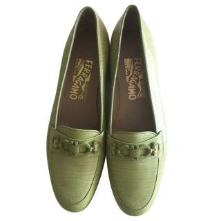 Salvatore Ferragamo Pale Green Croc Embossed Loafers