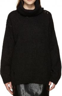 Saint Laurent Mohair Distressed Rollneck Sweater