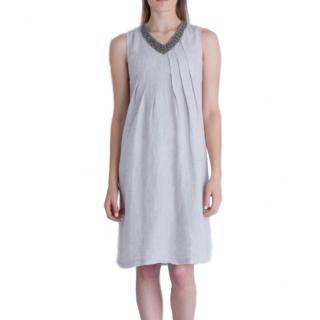 120% Lino Pleated Embellished Dress