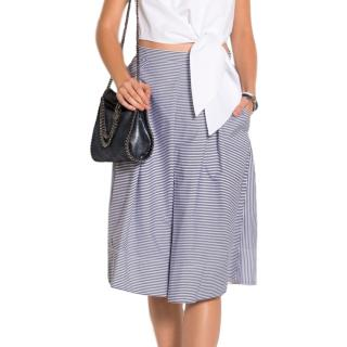 Tibi Striped Pleated Midi Skirt