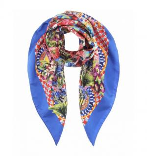 Dolce & Gabbana Blue Caretto print silk scarf