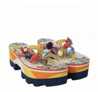 Dolce & Gabbana Crystal Embellished Platform Sandals