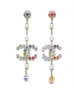 Chanel Multi-Coloured Crystal Faux Pearl CC Drop Earrings