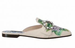 Dolce & Gabbana Hydrangea Print Embellished Mules