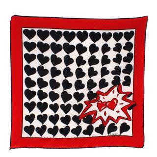 Escada heart print plisse scarf