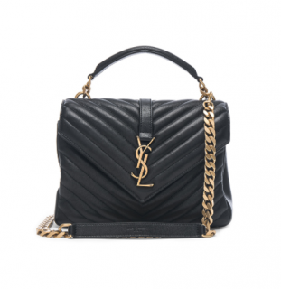 Saint Laurent Medium College Bag Monogram in Black & Gold