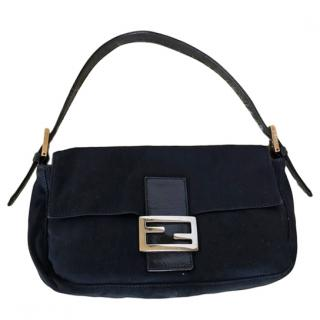 Fendi Black Satin Vintage Baguette Bag