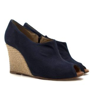 Christian Louboutin Navy Blue Wedge Sandals