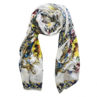 Dolce & Gabbana Majolica Vase Print Wrap Scarf