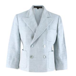 Ralph Lauren blue tweed double breasted blazer