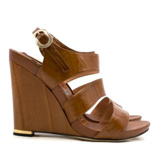 Sergio Rossi Brown Distressed Patent Leather Wedges