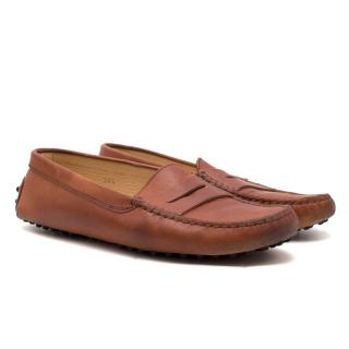 Tod's Tan Leather Gommino Loafers