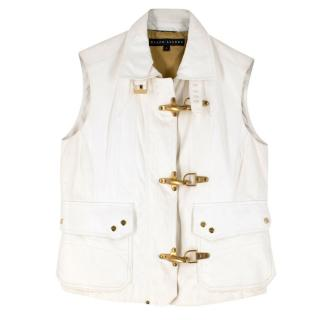 Ralph Lauren white lambskin sleeveless jacket
