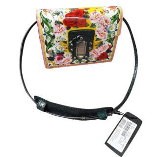 Dolce & Gabbana Floral Print Lucia Shoulder Bag W/ Python Strap
