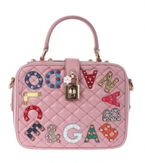 Dolce & Gabbana Pink Quilted Embellished Top Handle Bag