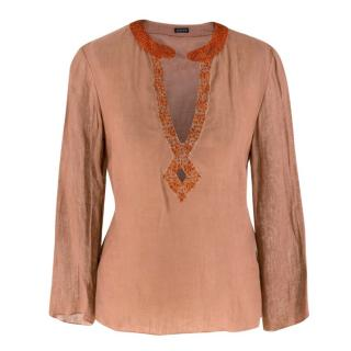 Joseph Embellished Semi Sheer Linen Tunic