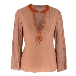 Joseph Embellished Semi Sheer Linen Tunic