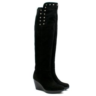 Stuart Weitzman Studded Over the Knee Wedge Boots