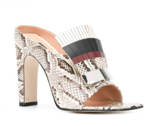 Sergio Rossi Fringed Python Mules