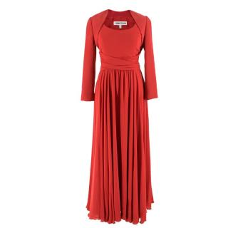 Cerutti 1881 Red Silk Pleated Sleeveless Gown & Bolero