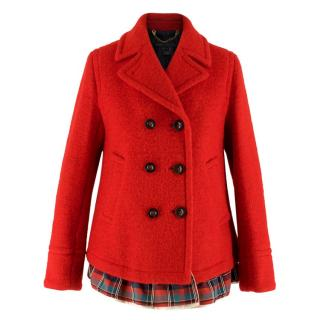 Marc by Marc Jacobs Red Wool Blend Double Breasted Coat