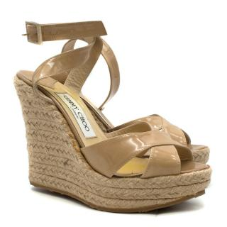Jimmy Choo Patent Leather Espadrille Wrap Wedges
