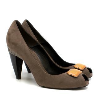 Fendi suede peep-toe embellished pumps