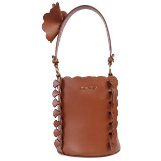 Miu Miu Scalloped Leather Bucket Bag