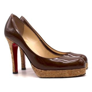 Christian Louboutin Patent Leather Cork Platform Pumps