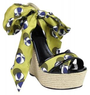 Gucci Carolina Heartbeat Beach Ball Satin Tie Wedge Sandals